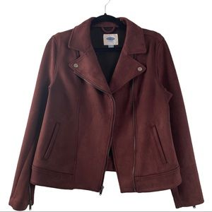 Old Navy Suede Moto Style Jacket Red Size Medium